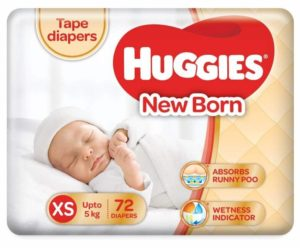 Huggies newborn taped diapers for babies in India